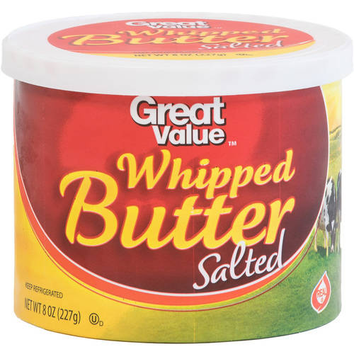 Great Value Salted Whipped Butter. 8 oz.