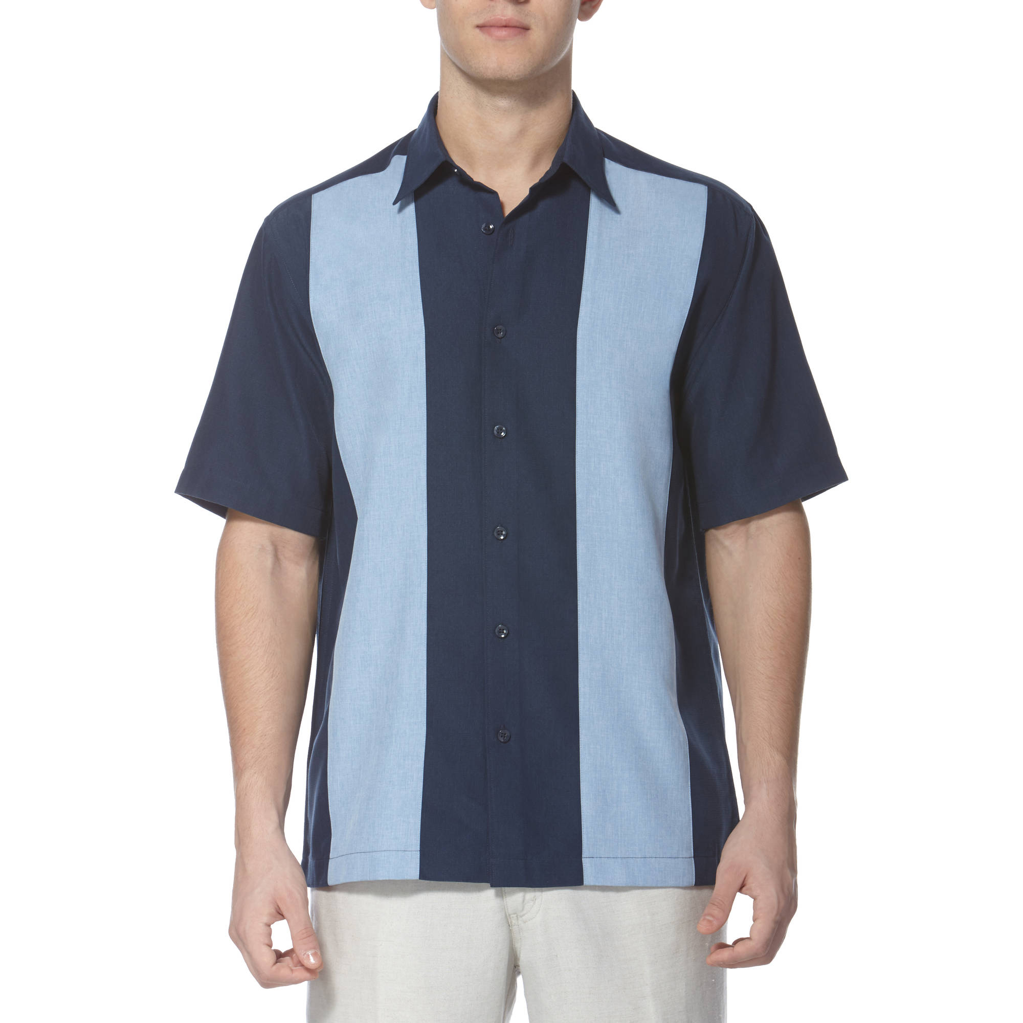 Caf Luna Men's Contrast Panel Woven Shirt