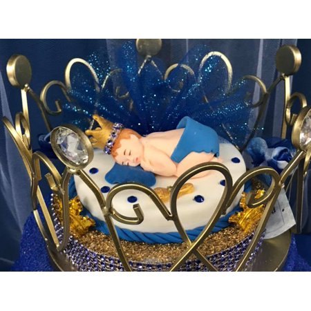 Baby Shower Prince Gold Crown Cake Topper Centerpiece Keepsake Gift - Prince Crown Centerpieces
