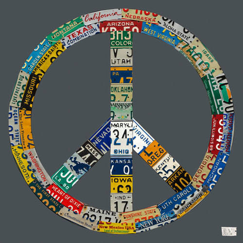 Oopsy Daisy - License Plate Peace - Gray Canvas Wall Art 21x21, Aaron Foster
