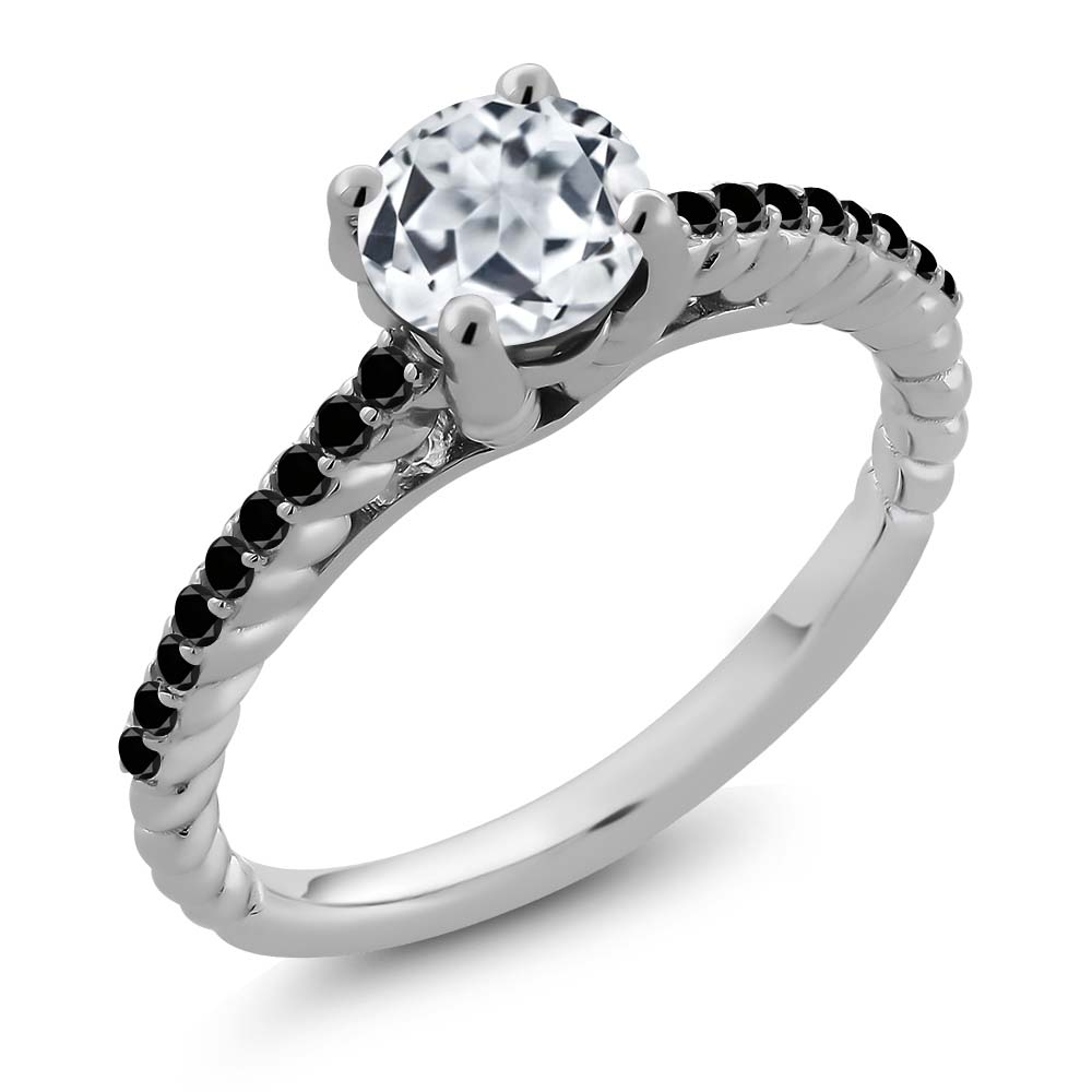 1.82 Ct Round White Topaz Black Diamond 925 Sterling Silver Ring by