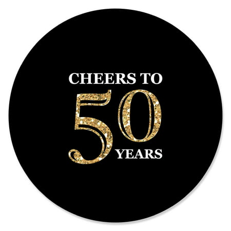Adult 50th Birthday - Gold - Birthday Party Circle Sticker Labels - 24 Count (50th Birthday Stickers)