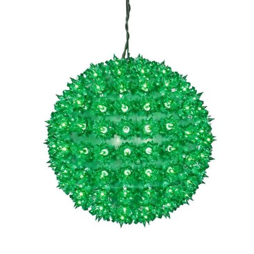 """10"""" Green Lighted Twinkling Starlight Sphere Christmas Ball Decoration"""