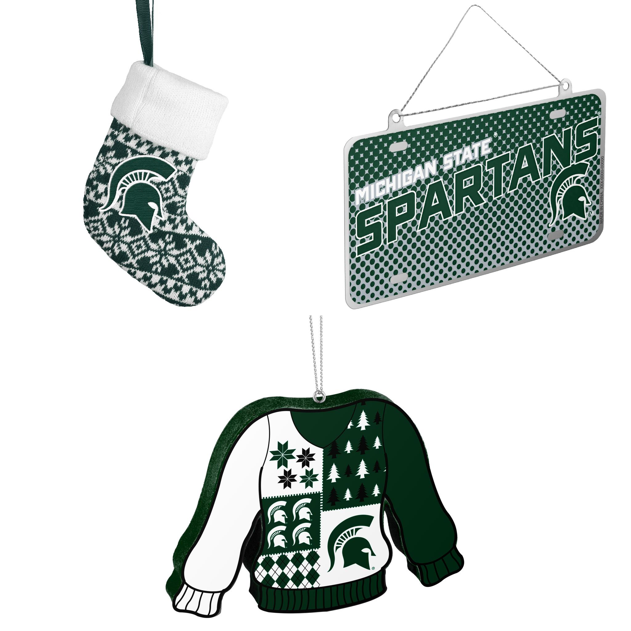 NCAA Michigan State Spartans ORNAMENT STOCKING KNIT Metal License Plate Christmas Ornament Foam Ugly Sweater Bundle 3 Pack By Forever Collectibles