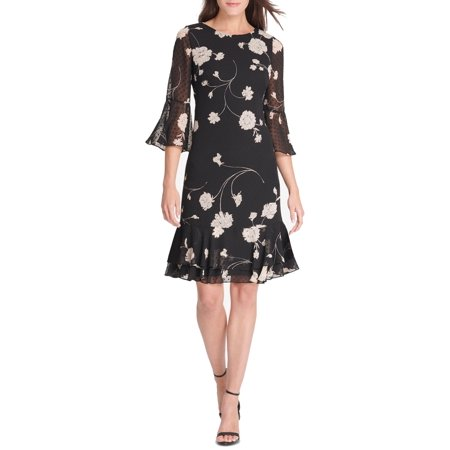 JESSICA HOWARD Womens Black Floral Printed Bell Sleeve Jewel Neck Above The Knee Shift Party Dress  Size: (Jessica Howard Floral Print Dress With Shrug)