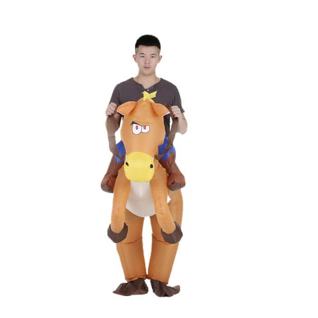 Decdeal Funny Cowboy Rider on Horse Inflatable Costume Outfit for Adult Fancy Dress Halloween Carnival Party Blow Up Inflatable Costume Suit With Battery Operated Fan - Simple Carnival Costumes