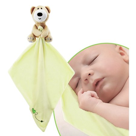Teddy Bear Snuggle Blankie. Plush Infant Security Blanket for Boys and Girls with Adorable Teddy Bear. Soothing and Fun, Light Yellow Color toddler blanket. Safe For Children Material, Fully Certified