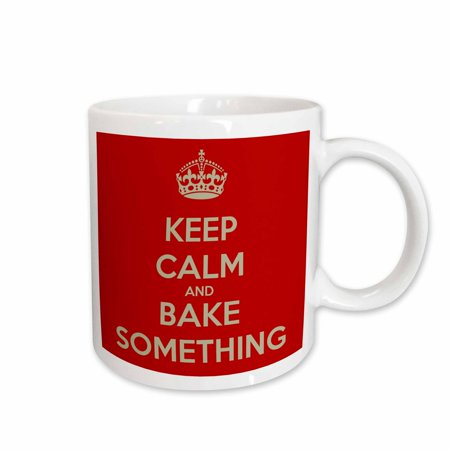 3dRose Keep calm and bake something, Ceramic Mug, 11-ounce
