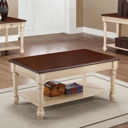 Coaster Home Furnishings 704418 Coffee Table, NULL, Dark Cherry/Antique White