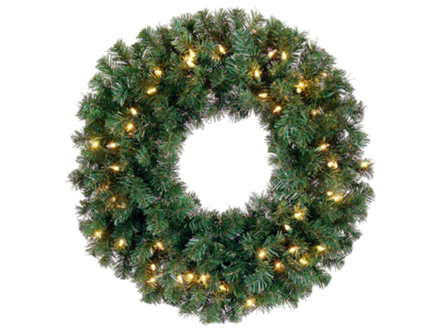national tree 24 norwood fir wreath with 50 warm white battery operated led lights with timer walmartcom - Christmas Wreaths With Lights