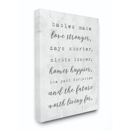 Stupell Industries Babies Make Love Stronger Family Home Kids Gray Word Design Canvas Wall Art by Daphne (The Bates Family And Baby Makes 19)