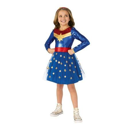 Halloween Costumes Roller Derby Girl (Rubies Deluxe Captain Marvel Girls Halloween)