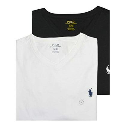 Polo Ralph Lauren Men Assorted 2 Pack V-Neck T-shirt (XL, White/Black)