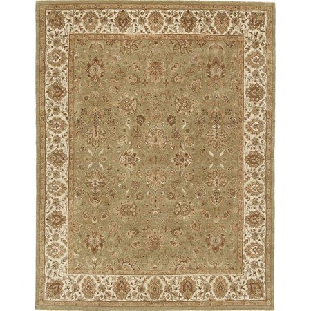 Agra Ivory Green - Due Process Stable Trading Rambagh Agra Light Green & Ivory Area Rug, 10 x 14 ft.