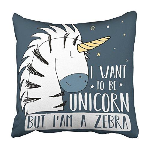 CMFUN Pink Unicorn Zebra for White Slogan Funny Tee Graphic Cool Kid Animal Pillowcase Cushion Cover 18x18 inch