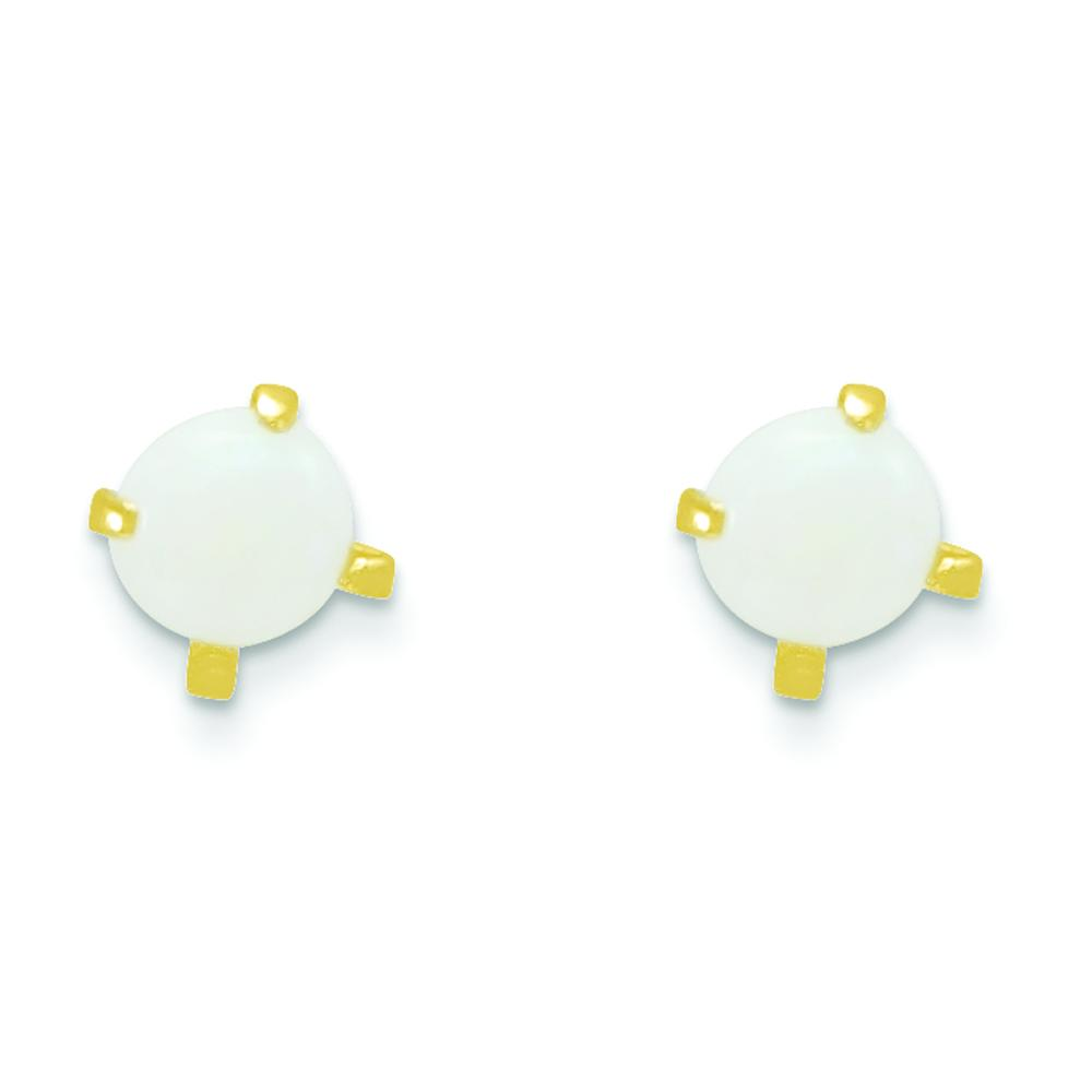 14k White Gold Polished Created Opal Bow Post Earrings October