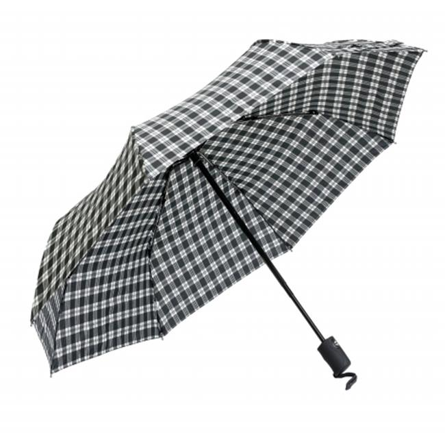 Frankford Umbrellas RM01-PL Mini Triple fold Umbrella - Black and White Plaid