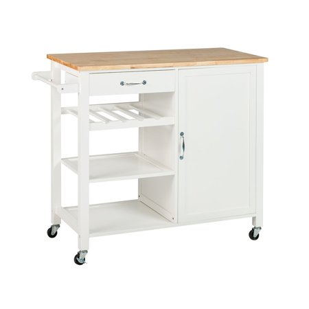 Kitchen Island Shelves - Buy-Hive Kitchen Island Rolling Trolley Cart Utility Dining Serving Cabinet Shelf w/Wine Rack