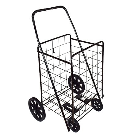 Dlux shopping folding cart strong frame solid rubber tires for Folding fishing cart