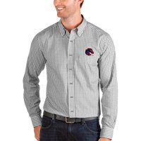Boise State Broncos Antigua Structure Woven Button-Up Long Sleeve Shirt - Gray