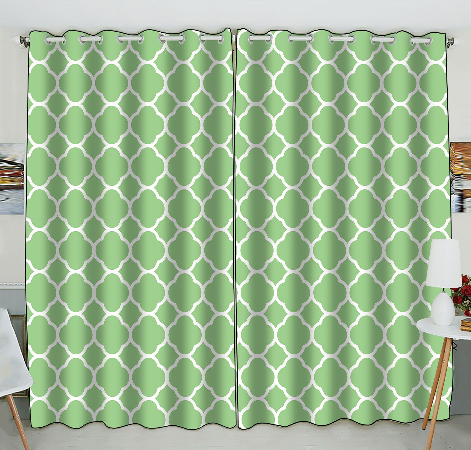 ZKGK Quatrefoil Pattern Window Curtain Drapery/Panels/Treatment For Living Room Bedroom Kids Rooms 52x84 inches Two Panel