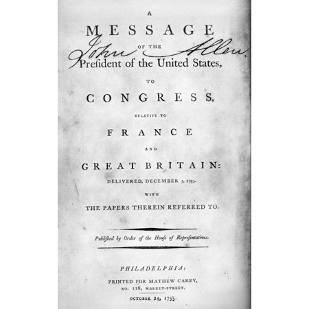 Foreign Relations 1793 Ntitle Page Of The Published Version Of A Message From From President Washington To Congress 5 December 1793 Concerning The Relations Of The United States With France And