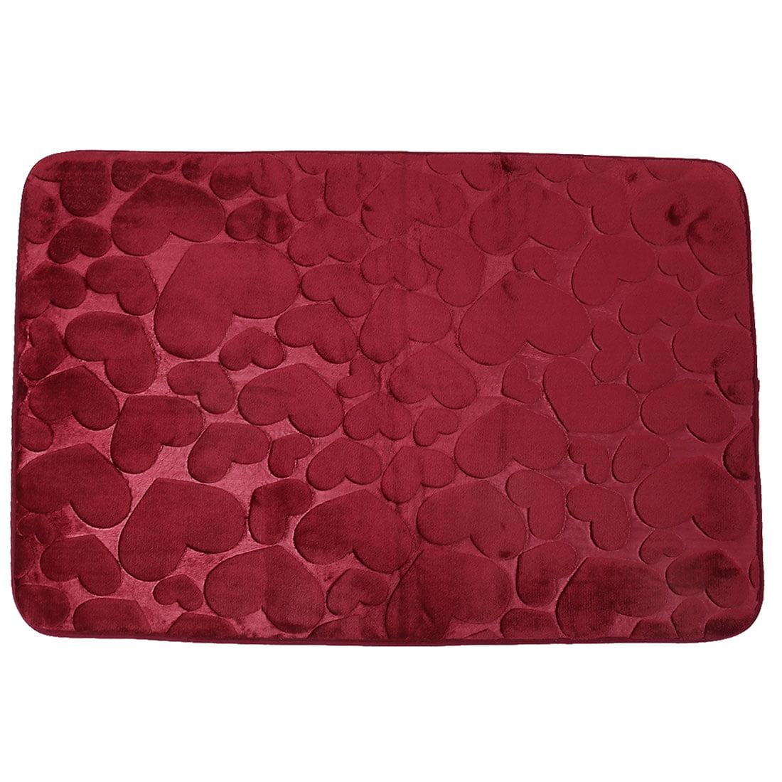 Household Coral Velvet Heart Shaped Anti-slip Floor Rug Mat Doormat 50cm x 80cm
