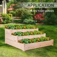 3-Tier Wooden Raised Elevated Garden Bed Planter Box Kit Flower Vegetable Bed