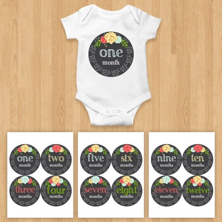 1563b1337 Monthly Baby Stickers Girl Bodysuit Floral Wreath Roses Nursery ...