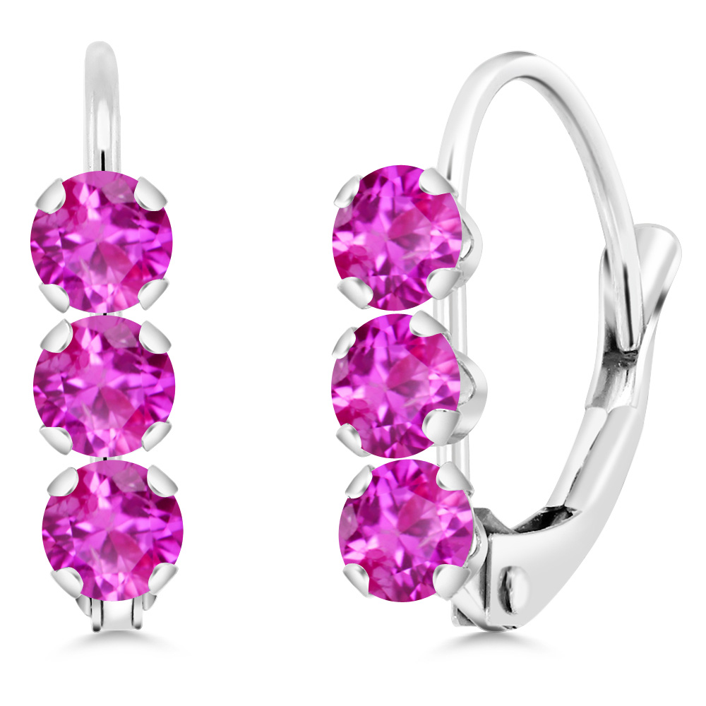 14K White Gold 0.78 Ct Round Pink Sapphire Leverback Earrings by
