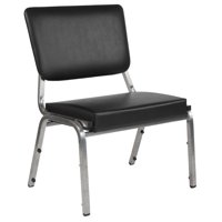 1500 lb. Rated Black Antimicrobial Vinyl Bariatric Chair with 3/4 Panel Back and Silver Vein Frame