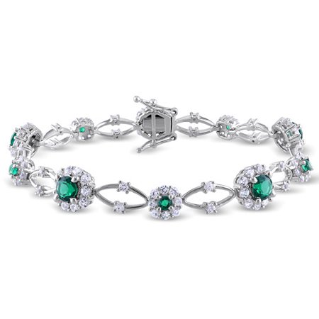 6-3/4 Carat T.G.W. Created Emerald and Created White Sapphire Sterling Silver Halo Bracelet, (Trifari Emerald Bracelet)