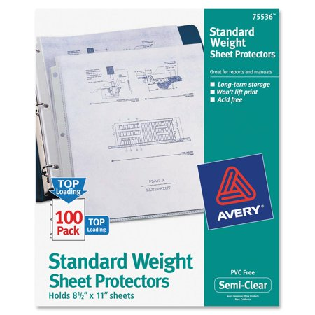 Avery R  Standard Weight Sheet Protectors 75536  Box Of 100