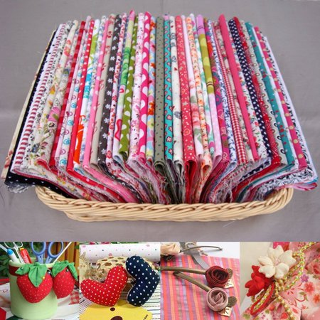 100pcs Pre-Cut Cotton Fabric Assorted Color Floral Fabrics for Craft DIY Sewing Scrapbooking Quilting ()