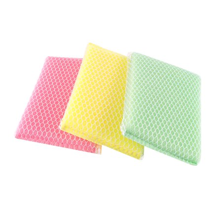 White Natural Sponges - Unique Bargains 3 Pcs Household Dish Cleaning Scrub-Net Cleaning Sponge Scouring Pads