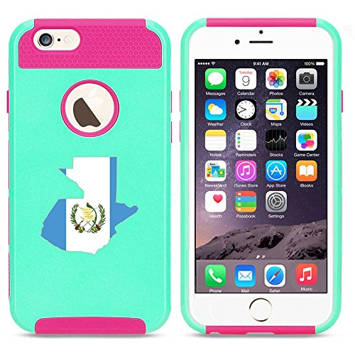 Apple iPhone 5c Shockproof Impact Hard Case Cover Guatemala Guatemalan Flag (Light Blue-Hot Pink),MIP