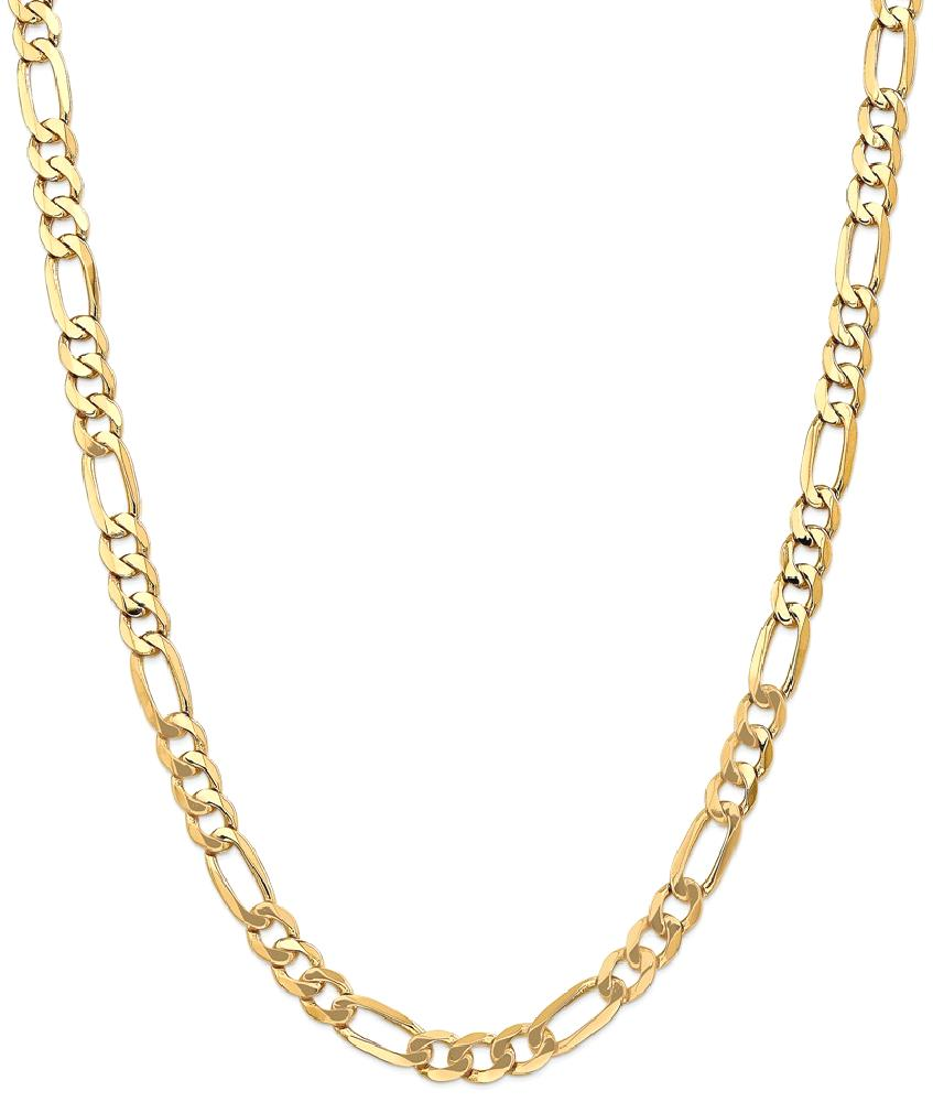 ICE CARATS 14kt Yellow Gold 7mm Flat Link Figaro Chain Necklace 24 Inch Pendant Charm Beveled Fine Jewelry Ideal Gifts... by IceCarats Designer Jewelry Gift USA