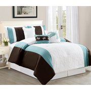 Jessamine California King Size 7 Piece Embossed Comforter Bedding Set Soft Oversized Bed In A