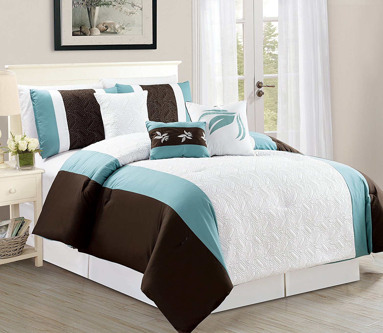 jessamine california king size 7piece embossed comforter bedding set soft oversized bed in a