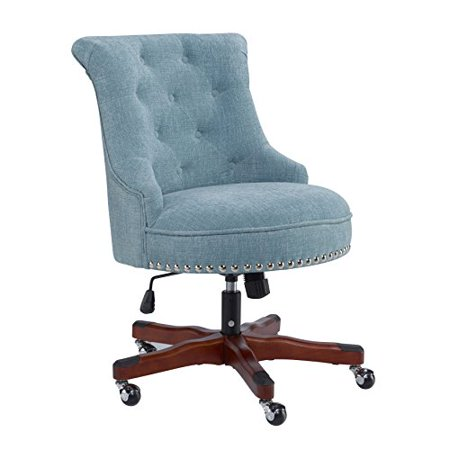 Contemporary Pine Wood On Tufted Blue Upholstery Rolled Back Office Task Chair With Silver Nailheads And