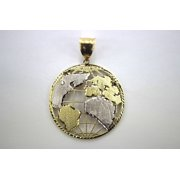 10K Two Tone Yellow White Gold Diamond Cut Globe Pendant