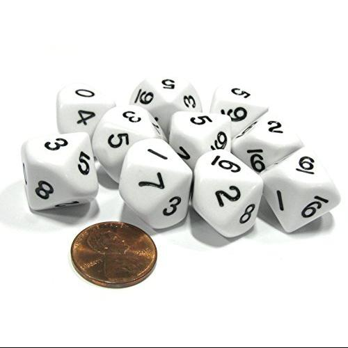10 Piece Set of 10-Sided D10 Polyhedral Dice - White with Black Numbers