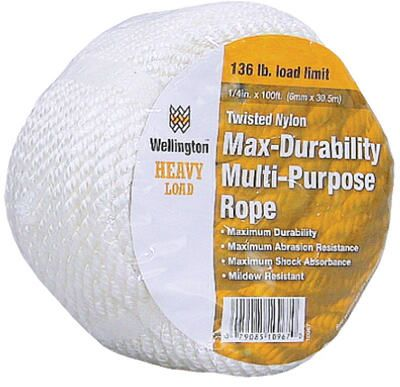 Wellington Cordage 11003 Rope, Multi-Purpose, Twisted Nylon, White, 510-Lb. Load Limit, .5-In. x 100-Ft.