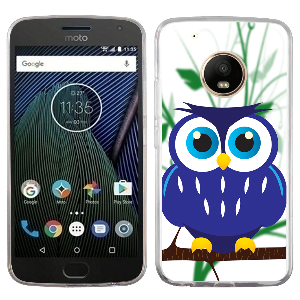 Fit Moto E4, OneToughShield ® Slim-Fit Premium TPU Gel Phone Case for Motorola Moto E4 - Blue Owl