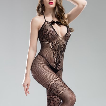 Lace Sexy Crotchless Bodystocking - Women's Intimate, Sexy Mesh And Intricate Lace Body Stockings Lingerie Sleepwear