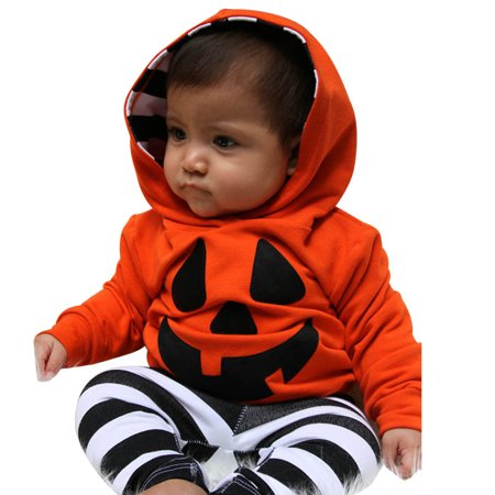 Outtop Infant Baby Boy Girls Pumpkin Hooded Blouse +Stripe Pants Halloween Outfits Set