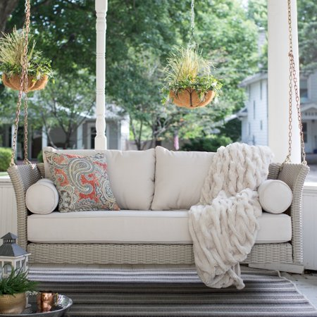 Belham Living Bellevue Deep Seating All Weather Wicker Porch Swing Bed with