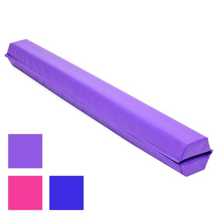 Best Choice Products 9ft Kids Full Size Folding Floor Balance Beam for Gymnastics and Tumbling w/ Medium-Density Foam, 4in Wide Surface, Non-Slip Vinyl - Purple