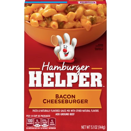 Hamburger Helper Bacon Cheeseburger Hamburger Helper 5.1 Oz Bacon Cheeseburger Hamburger Helper is made with 100% REAL cheese for the real taste you love most. Our products are made with NO artificial flavors or colors from artificial sources. Add Your Own Twist! Add some zip and zest! Stir in chopped pickle and shredded cheddar cheese just before serving. Serve with hot sauce.