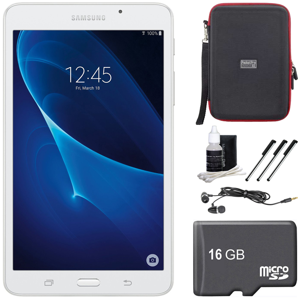 "Samsung Galaxy Tab A Lite 7.0"" 8GB Tablet PC (Wi-Fi) White 16GB microSD Accessory Bundle includes Tablet, 16GB microSD Memory Card, Cleaning Kit, 3 Stylus Pens, Ear Buds and Hardshell Case"